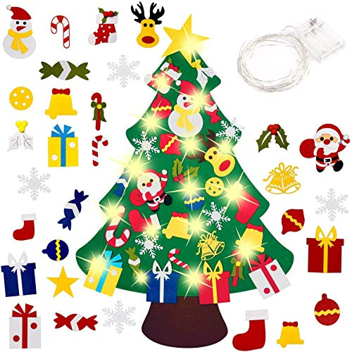 Ptsaying DIY Felt Christmas Tree with 30pcs Ornaments, christmas tree with 50 LED lights, Xmas Gifts for Kids New Year Handmade Christmas Door Wall Hanging Decorations(30pcs)
