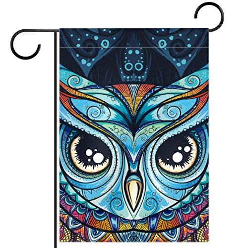 FunHOMEs Owl with Tribal Ornament Garden Flag Vertical Double Sized 12 x 18 Inch Decorative House Flags Yard Flag Banner Seasonal Birthday Party Outdoor Home Decor