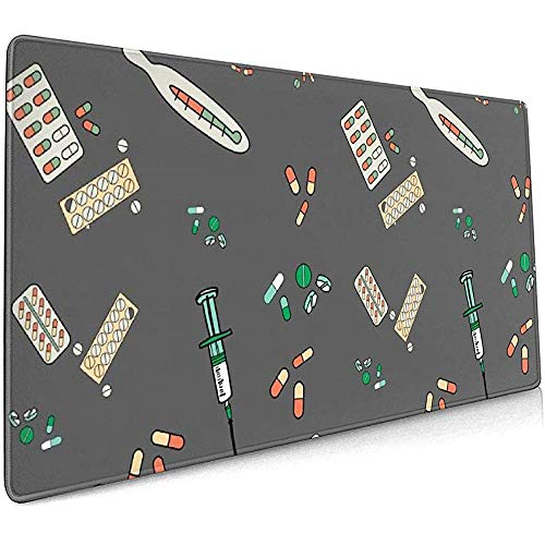 Injectie Medicine Thermometer Grote Gaming Mouse Pad,Extended Mat Bureau Pad,Mousepad,Non-lip Dikke Rubber Base Mouse Mat