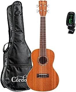 Cordoba 15CM Acoustic Concert Ukulele guitarVault Bundle With Cordoba Gig Bag and Clip-On Tuner