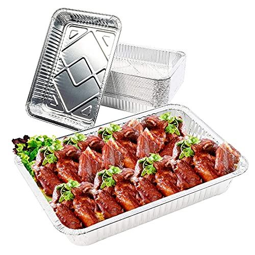 Bandejas de Papel Aluminio, 20 Piezas Desechables Papel de Aluminio, 1900 ml Bandeja Rectangular de Aluminio con Tapa, para Hornear, Asar, cocinar, almacenar Alimentos