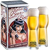 Kalea Beer Box   Metallbox mit 3D-Prägung   4 X 0.33 L Bierspezialitäten   Inkl. 2 Verkostungsgläser (Edition Black Lady)