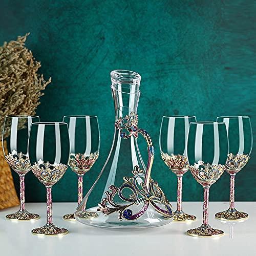 YYMM Juego de Decanter, Decantador de Color de Esmalte Creativo con 6 Piezas de Copa de Vino Tinto, Copa de Vino de Cristal sin Plomo, para Barra de Cocina para el hogar
