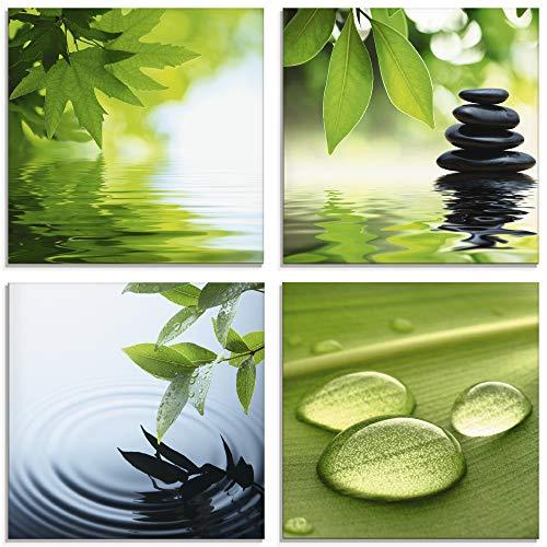 Artland Glasbilder Wandbild Glas Bild 4er Set 4 teilig je 20x20 cm Quadratisch Wellness Entspannung Zen Wasser Grün Blätter Stein Pyramide S6PI