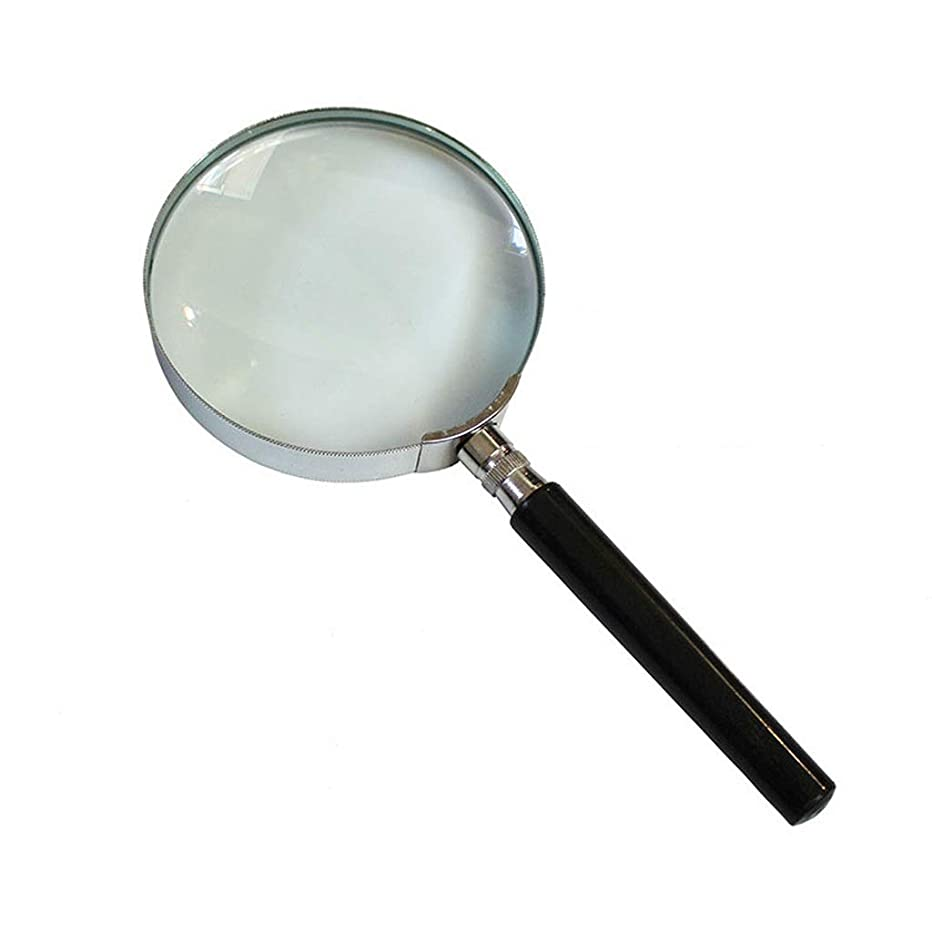 Portable Magnifier HJBH Handheld Reading Magnifier -10X HD Glass Lens Portable Comfort Handle Reading Jewelry Tag Clock DIY Engraving and Repair - Diameter 75mm Personalized Desktop Reading Magnifier