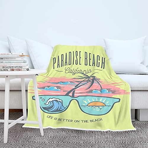 Wraill Palme Gafas de sol paraíso playa California, manta acogedora manta para el salón, manta para dormir, cálida manta para el sofá, unisex, color blanco, 150 x 200 cm