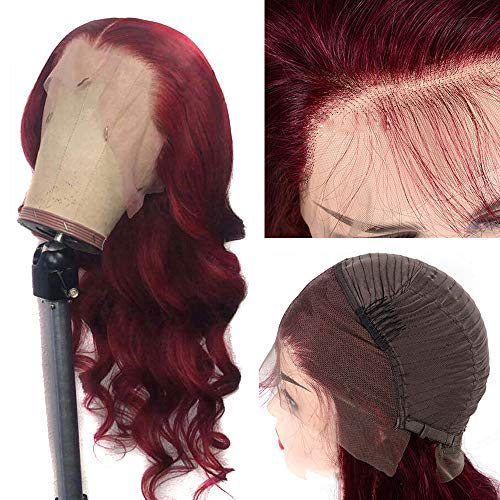 Oulaer Wig Burgundy 99J HD Invisible Lace Front Human Hair Wigs Brazilian Remy Hair Natural Hairline 13x4 Deep Part Body Wave Bleached knots 150 Density 22 Inch