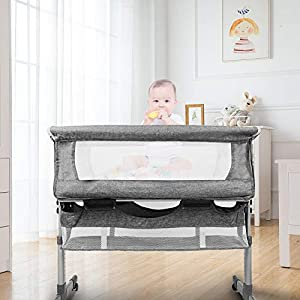 HoneiLife Rocking Bassinet for Baby – 3 in 1 Baby Cribs with Mosquito Net Adjustable Bedside Sleeper Easy Folding Baby Bed Portable Baby Travel Bed with Mattress & Detachable Side Panel,Grey