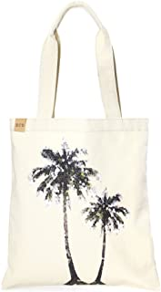 Me Plus Eco Cotton Canvas Stylish Printed Fashion Shopping and Travel Tote Bag (Palm Tree)