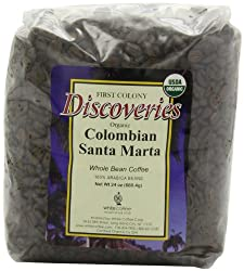 First Colony Organic Whole Bean Coffee, Colombian Santa Marta