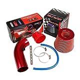 Filtro de entrada de aire frío universal para coche: Pindex Red Pipe Diámetro 3' Alumimum Kit de inducción de carbono