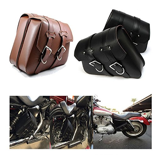 DLLL 1 Pair (Left & Right) Brown PU Leather Right Solo Side Swing Arm Saddle Bag for Harley Davidson Dyna Sportster Cruiser Fat Bob XL883 XL1200