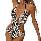 Bañadores Mujer Halter Escote V Espalda Descubierta Leopard Trajes de Baño de Una Pieza Bikinis...