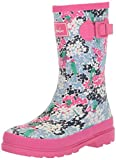 Joules Girls' JNRGIRLSWLY Rain Boot, Parakeet Ditsy, 3 Medium US Toddler