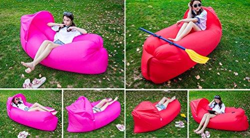 takestop Air Bag Lettino con Tenda Parasole Gonfiabile Hangout Air Sacco Divano MATERASSINO Mare Banana Sleeping Bag Colore Casuale