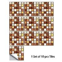 10ピースホームステッカーウォールステッカーフロアステッカーの壁デカール台所のための防水モザイクタイルステッカーホームの装飾 (Color : 10, Size : 15x15cm)