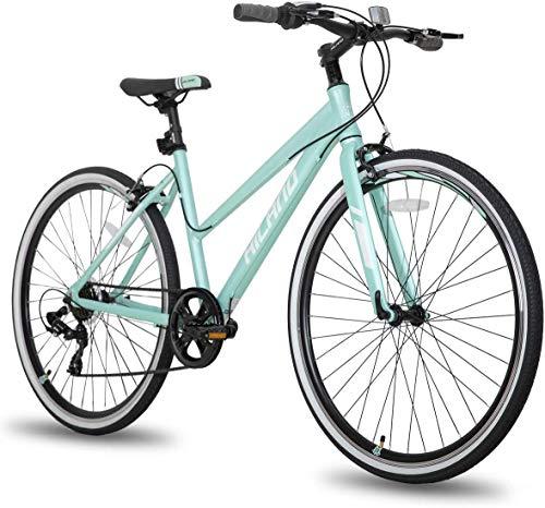 Hiland Bicicleta híbrida Urban City Pendler para mujer, cómoda bicicleta 700C ruedas con 7 velocidades