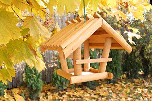 Vogelhaus aus Echtholz Futterstation 19x19 cm Vogelfutterhaus Garten Balkon Terrasse