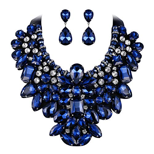 EVER FAITH Costume Jewelry for Women, Navy Blue Rhinestone Crystal Chunky Collar Statement Necklace Earrings Set