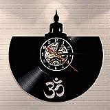 LBJZD Reloj de Pared Buda Meditación Zen Pared Arte Reloj De Pared Estudio De Yoga Decoración De...