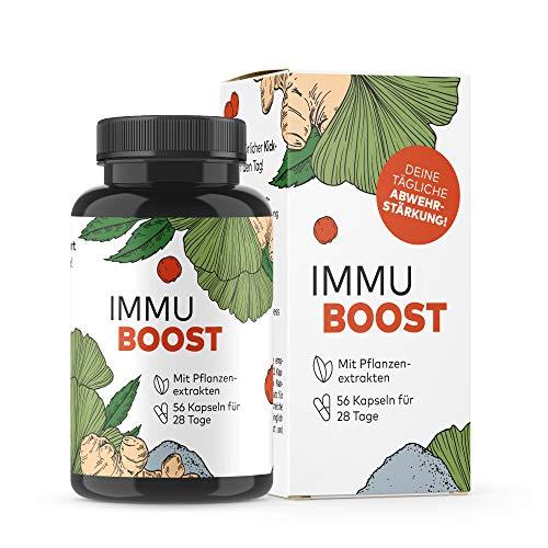 ImmuBoost ® Kapseln | 56 Kapseln für 28 Anwendungen | 1 Tag 2 Kapseln | 4 Wochen tägliche Immunstärkung durch Vitamin C | Mit Ingwer, Acerola und Magnesium | Stärkung der Abwehrkräfte | Immunkur