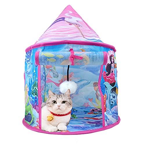 BeneBomo 猫用おもちゃ ペットのおもちゃ ねこテント ネコベッド 折り畳み式 ネコテント 猫用ハウス ペット用テント 猫の巣 ネコオモチャ 猫のてんと キャットテント キャリーバッグ付き 設置簡単 軽量 (ピンク)