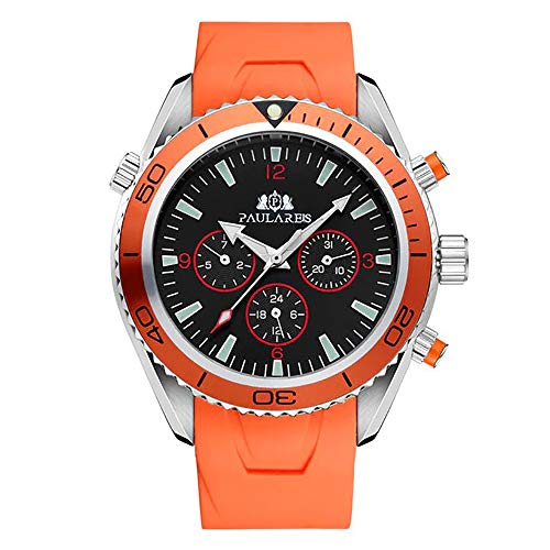 Reloj Automático Joven con Correa de Caucho ultracómoda para Hombre (Naranja)