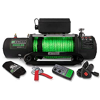 STEGODON New 9500 lb. Load Capacity Electric Winch S1,12V Waterproof IP67 Electric Winch with Hawse Fairlead, Synthetic Rope Winch with Wireless Handheld Remote and Wired Handle