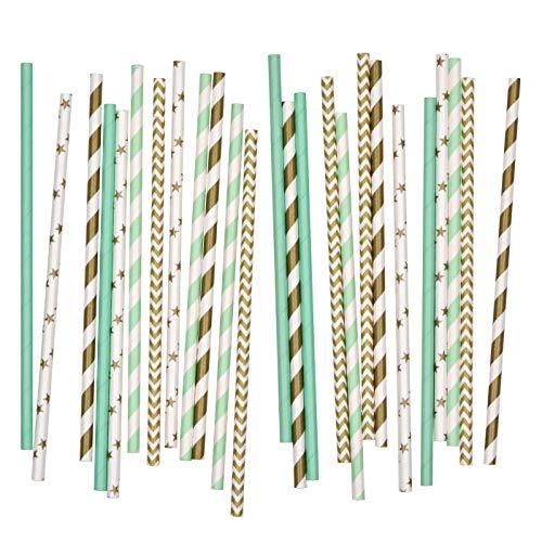 Salong Papierstrohhalme | Papiertrinkhalme | Party-Trinkhalme aus Papier in vielen Farben | Party-Strohhalme | Papier-Trinkhalme | Papptrinkhalme | Gold-Mint | 25 Stück