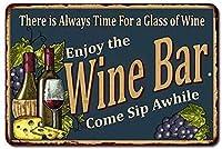 グラスワインの時間は常にあります、ブリキのサインヴィンテージ面白い生き物鉄の絵画金属板ノベルティ