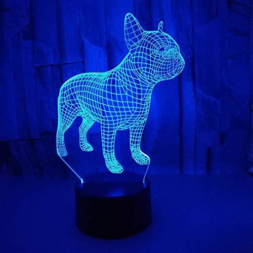 3D Ilusión luz cambiante LED francés perro mesa escritorio decoración para dormitorio junto a la decoración de la mesa Festival Navidad con carga USB, cambio de color colorido