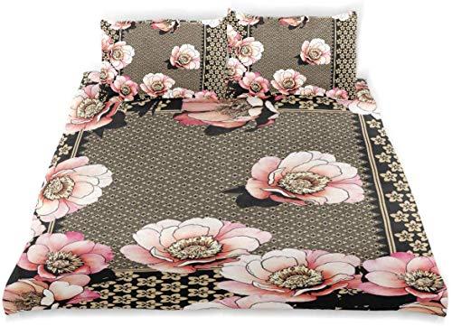 Juego de Funda nórdica Juego de sábanas Decorativas de Tela de Estilo japonés Juego de Cama de 3 Piezas con 2 Fundas de Almohada
