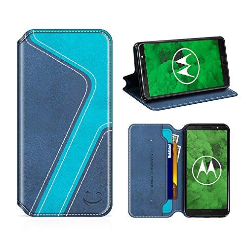 MOBESV Smiley Moto G6 Plus Hülle Leder, Moto G6 Plus Tasche Lederhülle/Wallet Hülle/Ledertasche Handyhülle/Schutzhülle mit Kartenfach für Motorola Moto G6 Plus, Dunkel Blau/Aqua