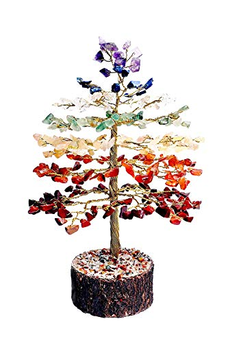 FASHIONZAADI Gemstone Bonsai Money Tree Healing Crystals Stone for Chakra Reiki Feng Shui Gift Home Office Table Decor Gift Size -10 Inch (Seven Chakra Golden Wire)