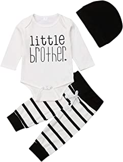 Infant Newborn Baby Boy Cotton Romper Little Brother Long Sleeve Bodysuit + Pants + Hat Outfit Set