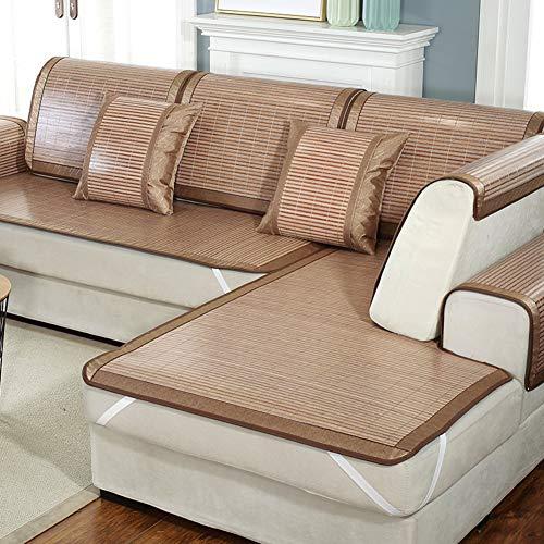 QYN Bamboo Mat Sofa Cushion,solid Color Cool Seat Pad Breathable Non-slip Chair Cushion-e 70x160cm(28x63inch)