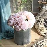 MEIYOUMK 1 Bündel Künstliche Blume künstliche Pfingstrose Blumen Bouquet gefälschte 5 Köpfe Seidenblumen für Braut Hochzeit Festival Home Decor von