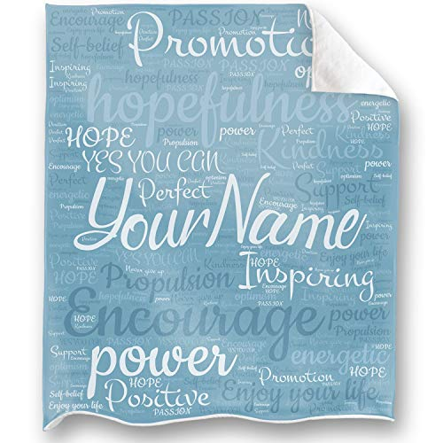LOONG DESIGN Personalized Name-Encourage Throw Blankets to Everyone with Perfect Love, Unconditional Encouragement, and Care, Support Gifts, Full of Love Sky Blue 50X60inch