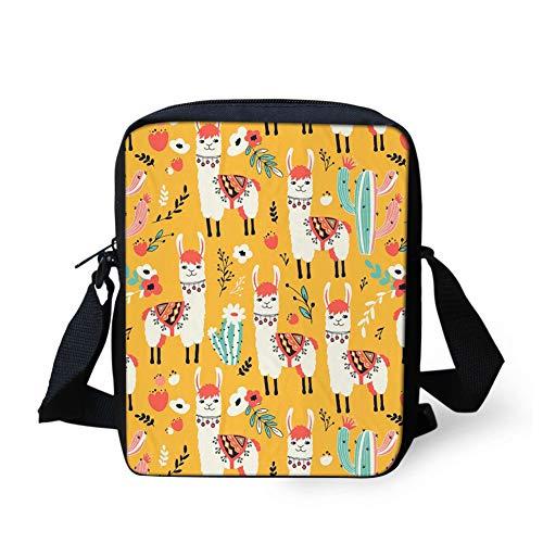 HUGS IDEA Small Cross Body Bag, Adorable Llamas Adjustable Strap Shoulder Bag Mini