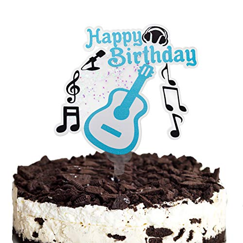 Happy Birthday Cake Topper, Fun Guitar, Musical Notes and Microphone Cake Topper, Musician Birthday, Music Party Decor