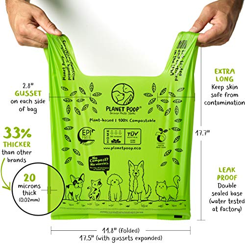 PLANET POOP Compostable Dog Poo Bags 30   Cat Litter Box Clean-up XL Sized Doggy Waste Bag with Handles   Pooper Scooper Swivel Bin   Biodegradable for Dogs   Extra-Large Grocery Size Eco Pet Supplies