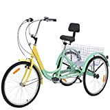 VANELL Adult Tricycle 7 Speed Three Wheel Trike Bike Cruiser Adult Trikes Low Step-Through W/Large Size Basket for Women Men Shopping Exercise Recreation(Yellow&Aloe,24in Dia.Wheels)