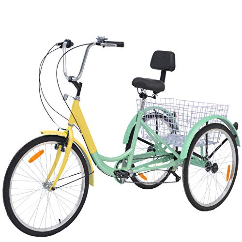 VANELL Adult Tricycle 7 Speed Three Wheel Trike Bike Cruiser Adult Trikes Low Step-Through W/Large Size Basket for Women Men Shopping Exercise Recreation (Cyan-Yellow, 24 inch/ 7 Speed)