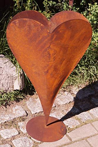 Rostalgie Edelrost Herz breit hoch auf Bodenplatte groß 70x45cm, inkl. Herz 8x6cm Pflanzgefäß Deko