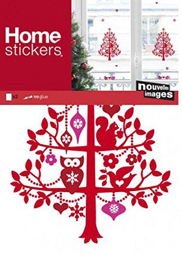 1art1 Noël Sticker Adhésif Fenêtres Autocollant - Sapin De Noël Rouge (32 x 23 cm)