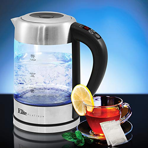 Elite Gourmet EKT-1789D Electric Programmable Cordless Glass Kettle w/ 5 Temperatures Tea & Coffee, BPA-Free, Water Sterilizer, Auto Shut-Off & Keep Warm Function, 1.7L (7.2 Cups), Stainless Steel