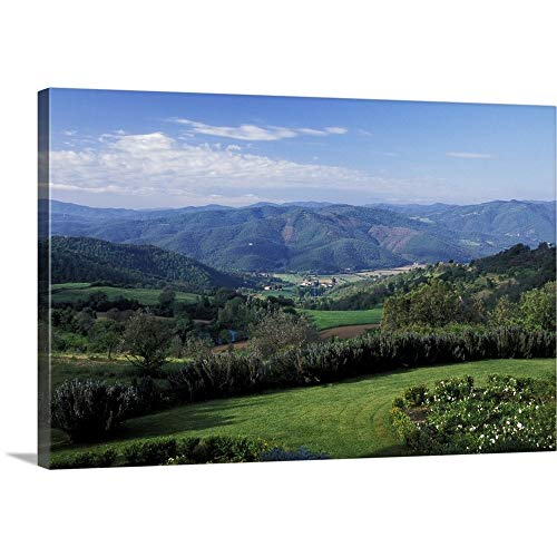 "GREATBIGCANVAS Europe, Italy, Umbria, Perugia. Scenic Rolling Hills Canvas Wall Art Print, 36""x24""x1.5"""