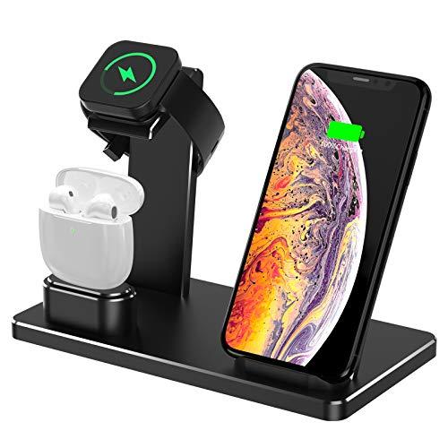 YOMENG Estación de Carga inalámbrica, 3 en 1 Base de Carga rápida de Aluminio para iPhone 12/12 Pro /12 Mini/11 Pro MAX/XS/XR/XS MAX/8 Plus, Soporte de Cargador para iWatch Series 6/5/4/3/2/1(Negro)