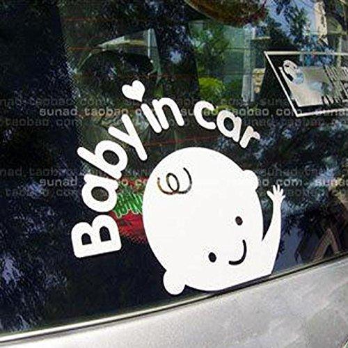 Auto Aufkleber Aufkleber Ronamick Baby im Auto winken Baby an Bord Sicherheit Schild Auto Aufkleber/Aufkleber (Weiß)