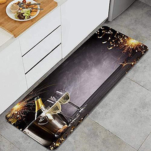 LISNIANY Küchenfußmatten Küche Bodenmatte Komfort,Frohes Neues Jahr Hufeisen Sekt Feuerwerk Champagner Wein Feier,rutschfeste Küche Teppiche Indoor Outdoor